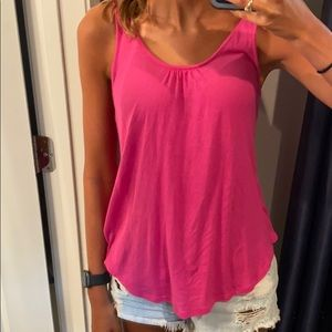 Hot pink tank top with back detail